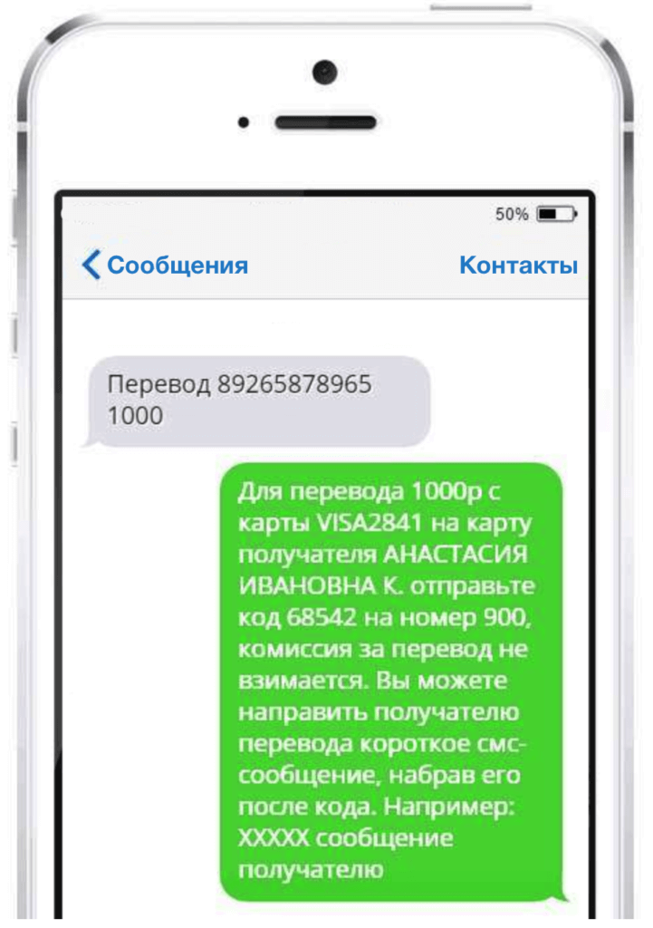 Перевод денег со Сбербанка на ВТБ по СМС на номер 900